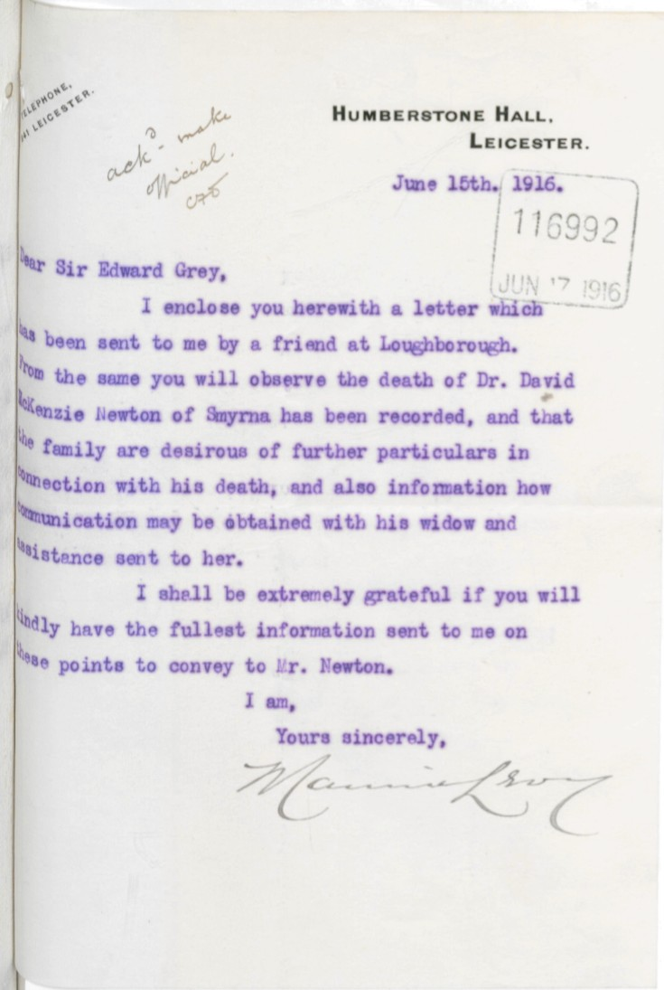 06.15 Maurice Levy MP to Sir Edward Grey 15 june 1916 cover letter for the John Newton letter