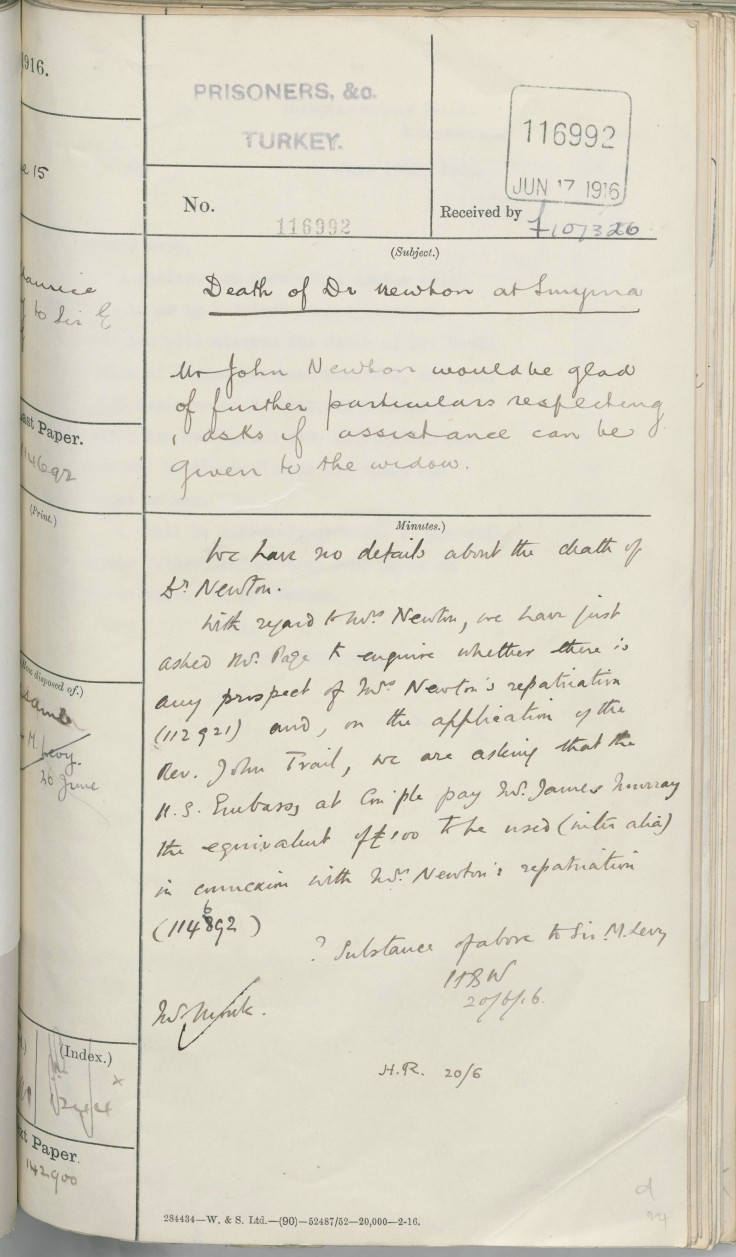 06.15 smyrna FO chit with draft of details to reply to John Newton's letter jun 17 1916