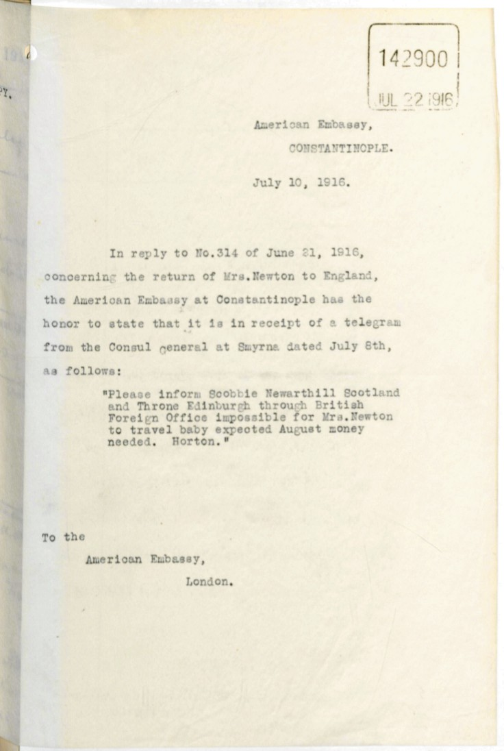 07.10 smyrna american embassy and FO ebeth scobbie unable to travel july 1916