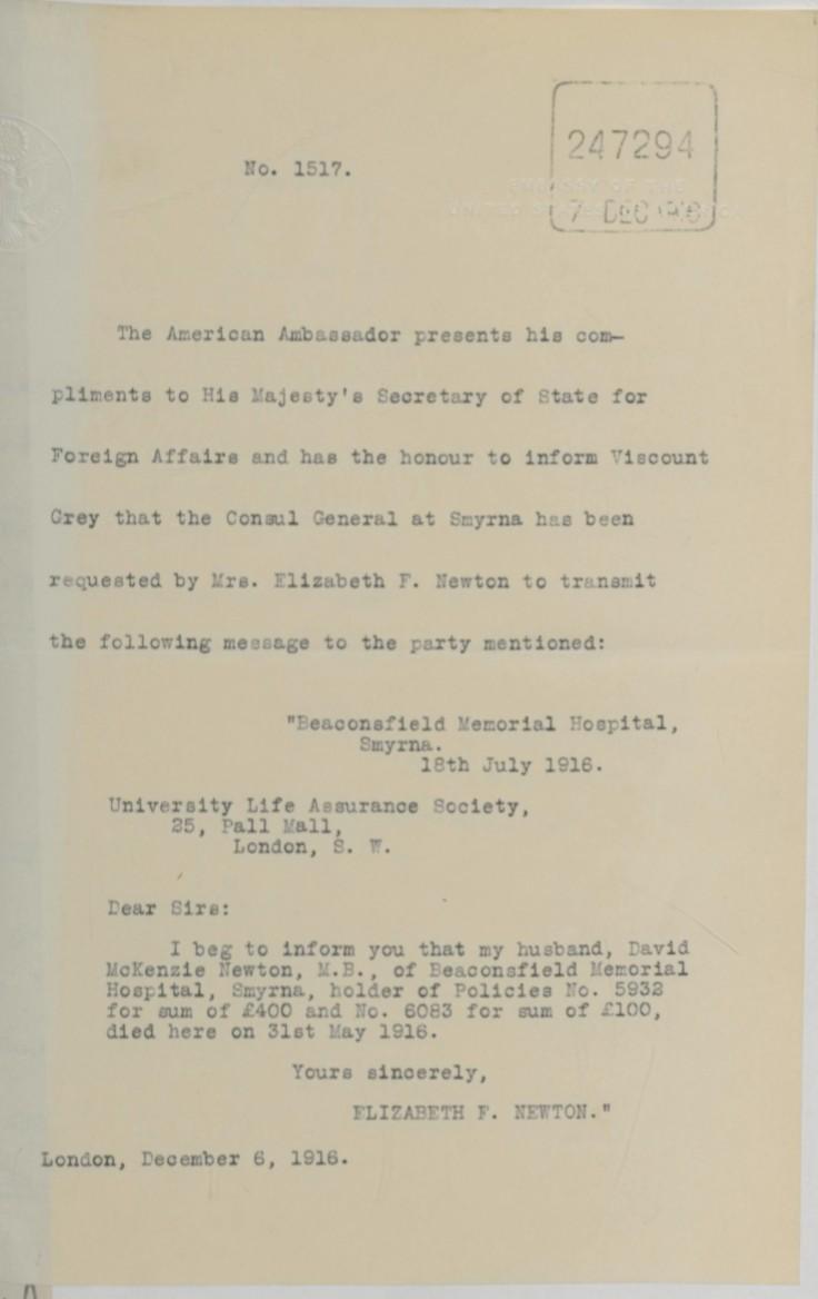 07.18 smyrna letter ebeth newton to insurers jul 16 1916 via embassy dec 6 1916