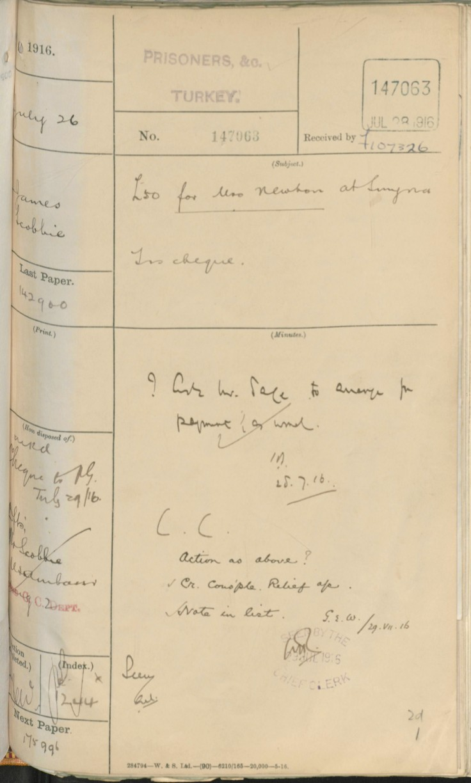 07.26 smyrna FO receipt chit £50 jul 28 1916