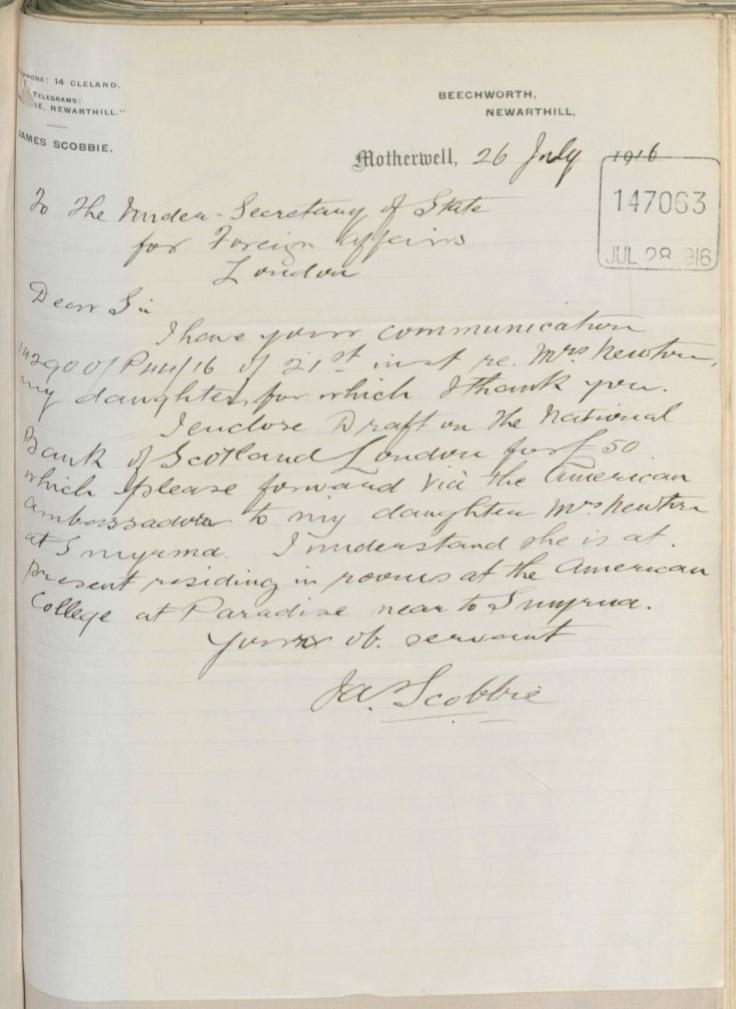 07.26 smyrna letter scobbie to FO re £50 jul 28 1916.jpg