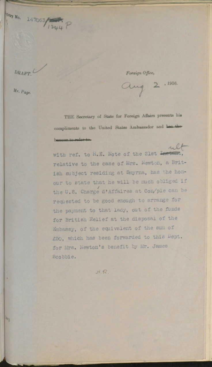08.02 draft smyrna FO to US embassy request £50 aug 2 1916 draft