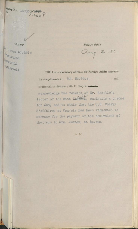 08.02 draft smyrna US embassy receipt £50 FO aug 2 1916 draft