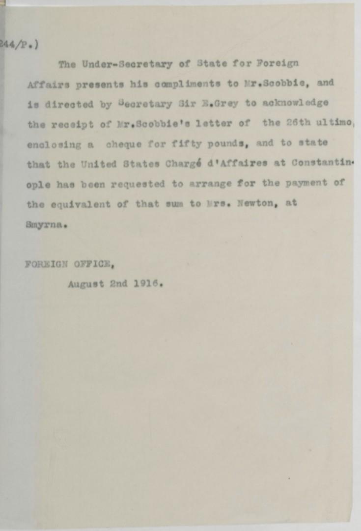 08.02 smyrna US embassy receipt £50 FO aug 2 1916