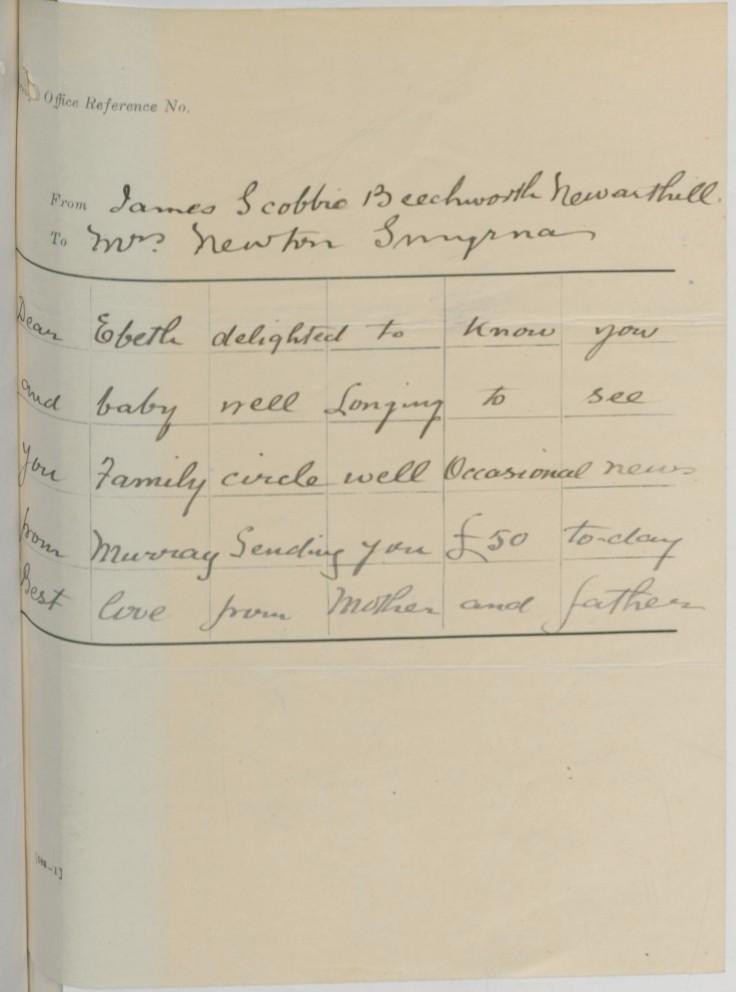 12 smyrna telegram scobbie to newton dec 1916
