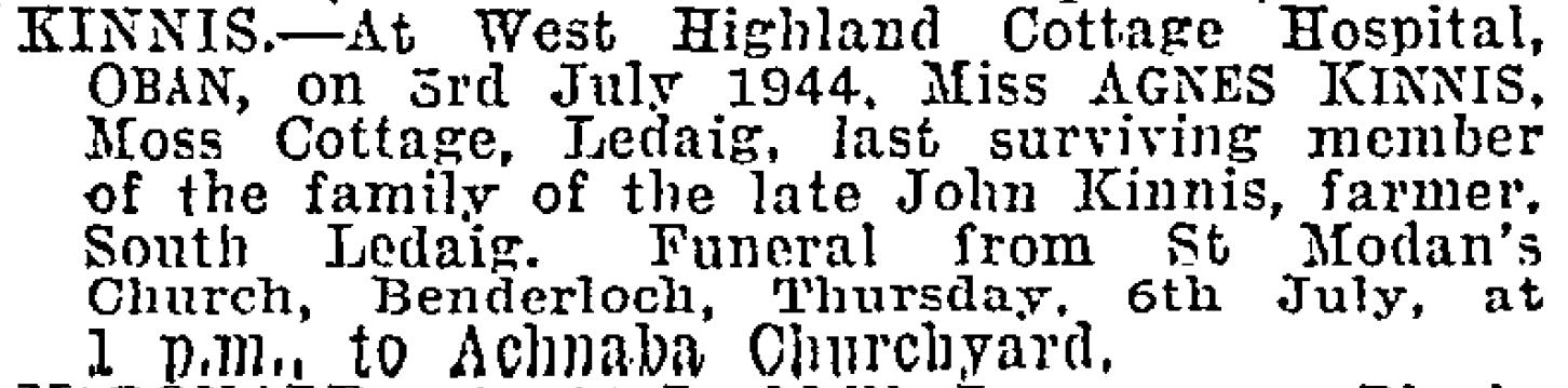 kinnis death notice 1944